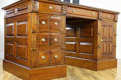 Large Antique Style Solid Mahogany Partners Pedestal Leather Top Writing Desk