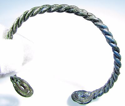 Superb Viking Era Bronze Twisted Bracelet / Arm Ring - Wearable - 1961