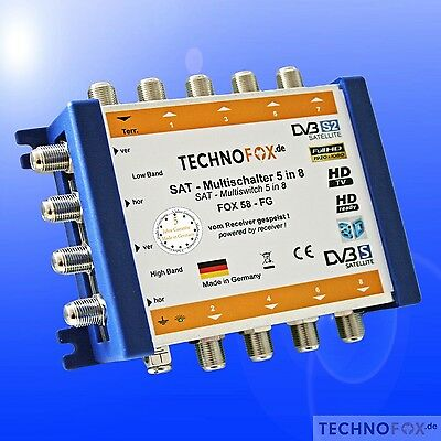 Multiswitch 5/8 is vom Receiver fed /not a power supply nötig 4K HDTV 3D sky