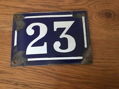 Stylish Old FRECH ENAMEL BEVELED HOUSE number SIGN