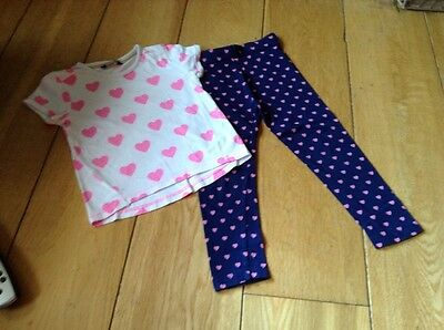 Girls Two Piece Leggings & T-shirt Set Hearts Pattern George 4-5 Years