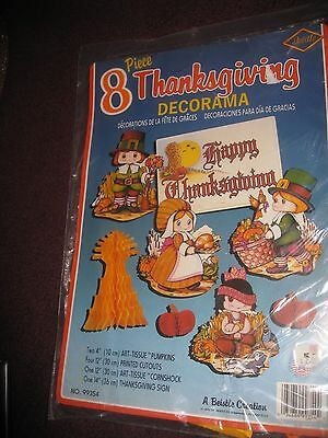 VTG Beistle 8 Piece Thanksgiving Honeycomb Decorations Set Cute New!