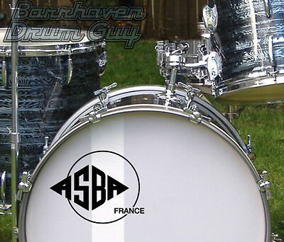 ASBA, (France), Vintage, Repro Logo - Adhesive Vinyl Decal, for Bass Drum Head