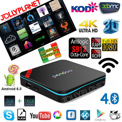 X9 Pendoo Android 6.0 Octa Core Box 2GB+16GB S912 64BIT WIFI HD IPTV 4K KODI