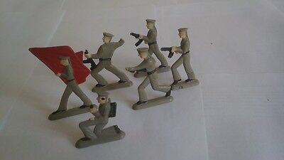 Vintage Soviet Russian Plastic 6 Toy Soldiers Red Army Marines Navy VERY RARE