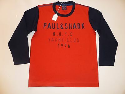 Paul & Shark- Yachting Cadets -Orange Cotton Long Sleeve Top - Boys 8 Years -New