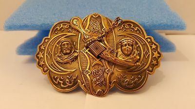 Antique Islamic Belt Buckle Ottoman Turkish Tughra Marked