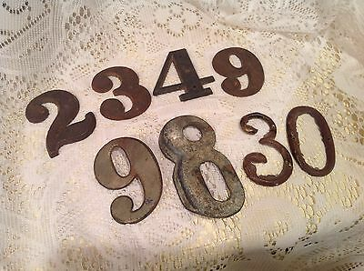 Lot Of 8 Antique Cast Iron/Brass House Numbers