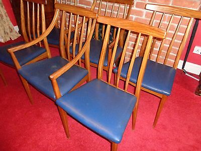 Six Danish Style Teak Chairs 4 Single 2 Carvers/ We Can Arrange Delivery