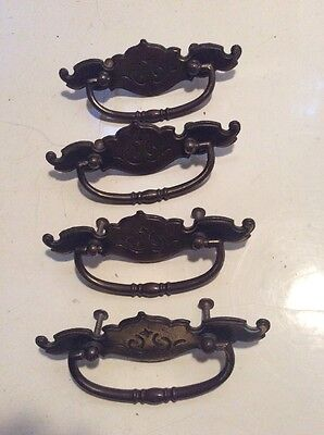 "4 Vintage Antique Brass Draw Pulls 6"" Long Mount Holes 2.75"" Apart Off Center"