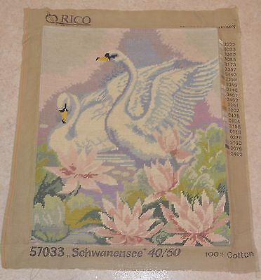 Vintage 2 Swans Completed Tapestry Orico Gobelin Made in W Germany 49.5 x 40cm