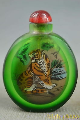 Collectable Handwork Old Glass Inside Inlay Tiger Exorcism Noble Snuff Bottle