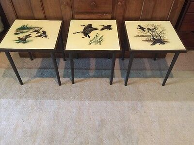 3 Mid Century Grace B Gilmore Portable Duck Hunt Card Side Tables Bacova Guild