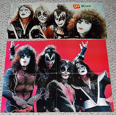KISS 1976 Destroyer 2pc Magazine Poster Lot Gene Simmons Ace Frehley Aucoin