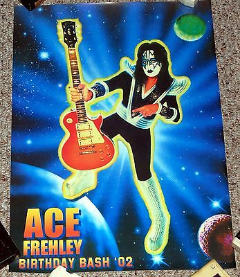 Kiss ACE FREHLEY Gibson Les Paul Signature Guitar Birthday Bash '02 Event Poster