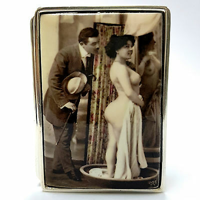 Large Edwardian Style Erotic Peeping Tom Pill Box 925 Sterling Silver Hallmarked
