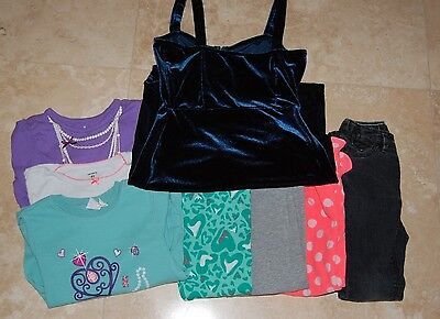 Girls Lot  Of Eight (8) Pieces Clothes Pants , Tops  And Dress Size 4T Used