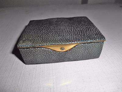 Art Deco 1930's Shagreen 3 Compartments Stamp Box Letter/Envelope Lookalike