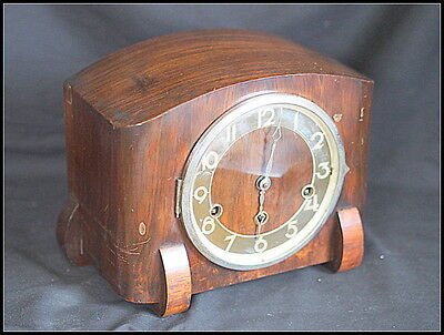 Art Deco Mantel Clock. Walnut (?) Cased. Heavy.