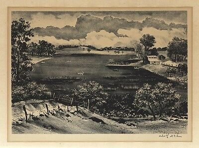 """""""Lake in Minnesota (or The Lake)"""" by Adolf Dehn - original Signed lithograph"""