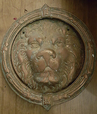 large vintage bronze lion head door knocker