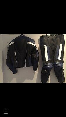 Leather Motorbike Suit Size 34 Trousers Large Jacket -excellent Condition