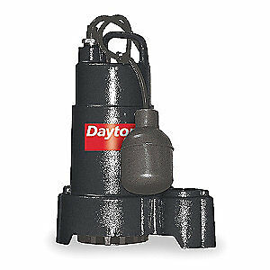 "DAYTON Sump Pump,1/2 HP,1-1/2"" NPT,10 ft., 3BB69"