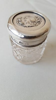 Victorian Silver and glass Jar bottle Hortan & All day Hallmarked