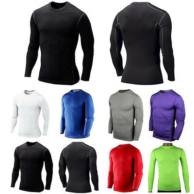 Men's Compression Armour Base Layer Long Sleeve Thermal T Shirt Gym Sports Tops