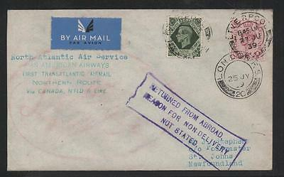 Gb 1939 1St Transatlantic Cover To Newfoundland
