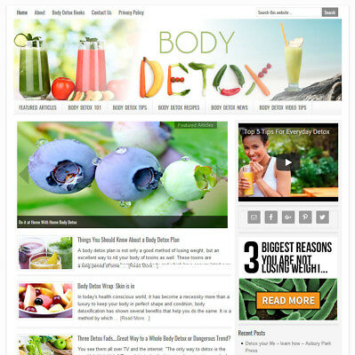 * BODY DETOX * affiliate website business for sale with AUTO UPDATING CONTENT