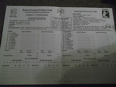 Essex V Yorkshire County Championship @ Southend 22Nd - 25Th July 1989