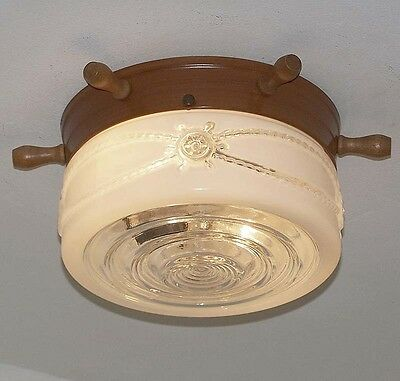 927 Vintage 50s CEILING LIGHT Ship Wheel fixture glass shade hall bath NAUTICAL