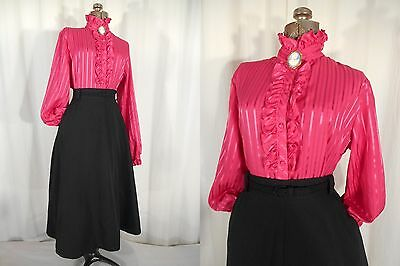 VTG 1980s 80s Victorian Blouse Bright Pink Steampunk Edwardian XL Ruffle Front