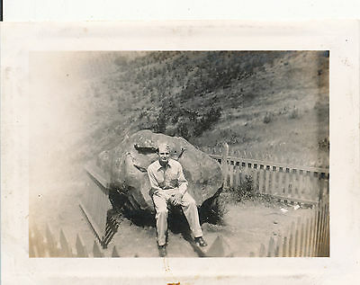 WWII 1940s Schofield Soldier at sacrificial rock Hawaii Photo