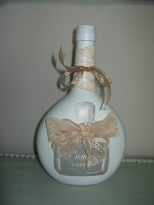 decorative bottle/candle holder with perfume bottle and lace, 24cm tall
