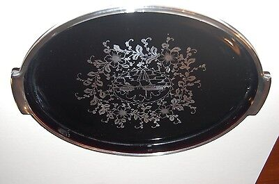 Vintage Venetian Glass Tray - Amethyst Colour with Silver Overlay