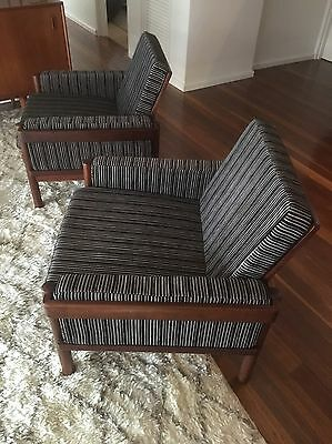 2 Danish Style Armchairs In Black And Cream