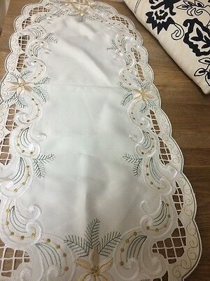 "Table Cloth /Runner Oval 33"" X 13 White With Gold And Green Embroidered Pattern"