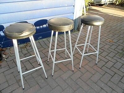 3 x Vintage 1970's 80's Metal & Vinyl Seated STOOLS Breakfast Bar Kitchen 29ins
