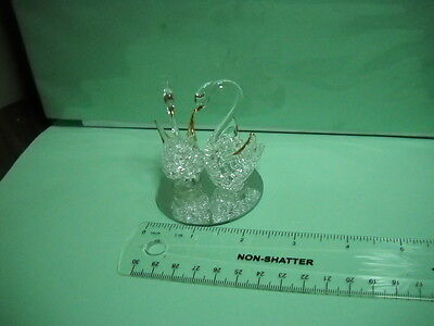 "Pair Swans, Crystal, Hand made, 3"" H"