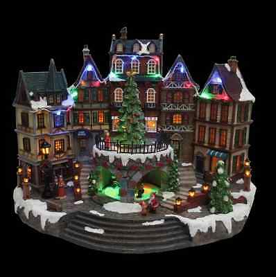 Christmas Holiday Village Animated Downtown Decoration w/ Lights and Music