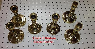 """3 Pair Diff Styles Vintage Old Solid Brass Baldwin Candlestick Holders 3"""" by 3"""""""