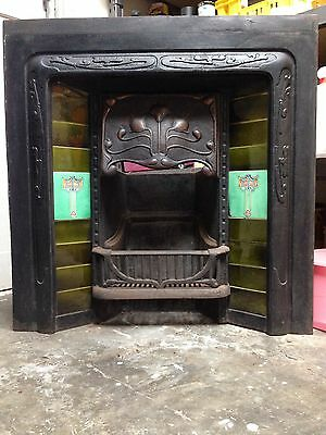 Antique Cast Iron Tiled Fireplace Insert