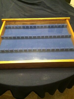 Wood and Glass Display Case for Collectible Spoons Holds 51 pieces