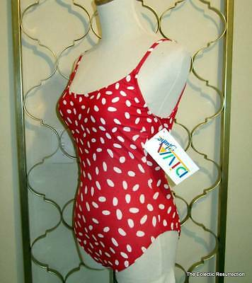 Vintage Retro 1-Piece Swimsuit 1980s Red & White Dot High Cut Legs Small NOS NWT