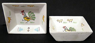 2 Handpainted Rooster Mint Nut Dishes - Vintage Japan