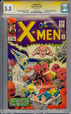 X-Men #15 Cgc 5.5  White 1St Master Mold Ss Stan Lee Signed  #1197172016