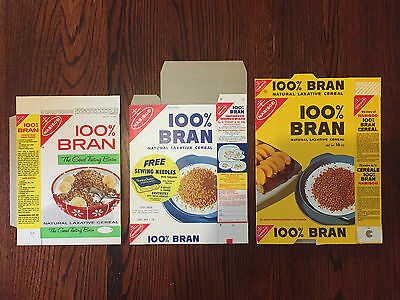 1950's 60's and 70's Nabisco 100% Bran Cereal Box Set of 3 - Flat Mint Condition