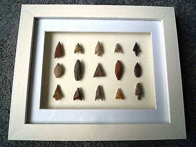 Neolithic Arrowheads in 3D Picture Frame, Authentic Artifacts 4000BC (X005)